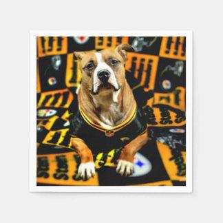 Pitbull Rescue Dog Football Fanatic Paper Napkin