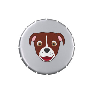 Pitbull rojo con el resplandor latas de caramelos