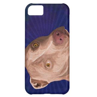 Pitbull rojo de la nariz con un fondo azul funda para iPhone 5C