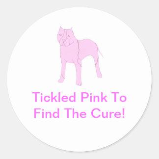 Pitbull rosado pegatina redonda