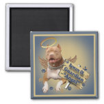 Pitbull se guarda de los regalos del ángel de guar imán para frigorifico