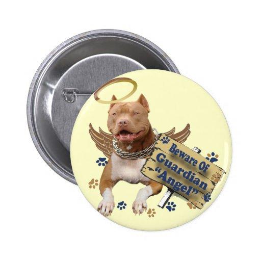 Pitbull se guarda de los regalos del ángel de guar pin redondo de 2 pulgadas