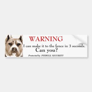 Pitbull Security Car Bumper Sticker