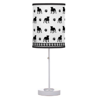 Pitbull Silhouettes and Paw Prints Pattern Table Lamp
