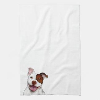 Pitbull sonriente feliz toalla de cocina