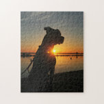 """Pitbull Sunrise Puzzle<br><div class=""""desc"""">Gorgeous pit bull. Amazing sunrise. Would make a great gift for just about anybody!</div>"""