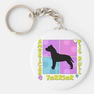 Pitbull Terrier americano maravilloso Llavero Redondo Tipo Pin