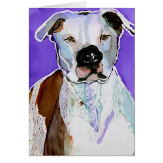 Pitbull Terrier Dog Alcohol Ink Art Painting Card