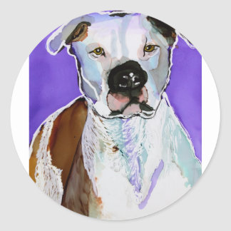 Pitbull Terrier Dog Alcohol Ink Art Painting Classic Round Sticker