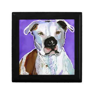 Pitbull Terrier Dog Alcohol Ink Art Painting Jewelry Box
