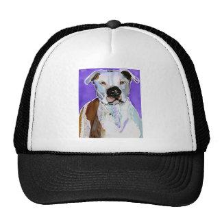 Pitbull Terrier Dog Alcohol Ink Art Painting Trucker Hats