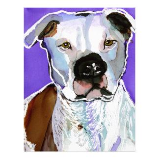 Pitbull Terrier Dog Alcohol Ink Art Painting Letterhead