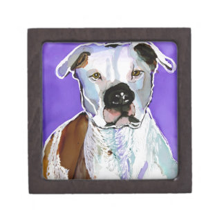 Pitbull Terrier Dog Alcohol Ink Art Painting Premium Gift Boxes