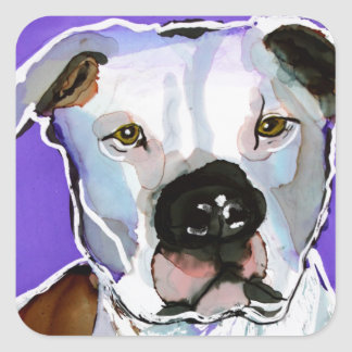 Pitbull Terrier Dog Alcohol Ink Art Painting Square Sticker