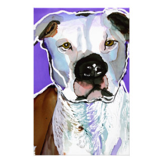 Pitbull Terrier Dog Alcohol Ink Art Painting Stationery