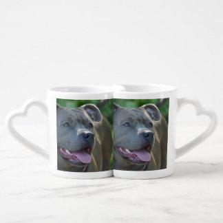 Pitbull terrier dog coffee mug set