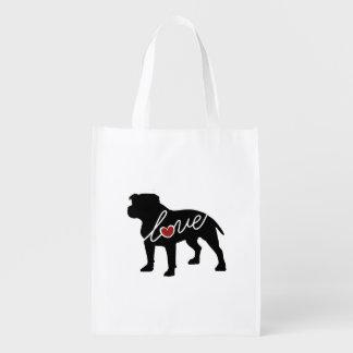 Pitbull (Undocked Ears) Love Grocery Bag