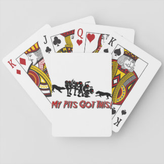 Pitbull vs Zombies Funny Logo Design Playing Cards