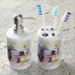 Pitbull Water Color Soap Dispenser And Toothbrush Holder