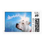 Pitbull White Dog Christmas Wish Stamp