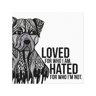 Pitbull with Text Canvas Print