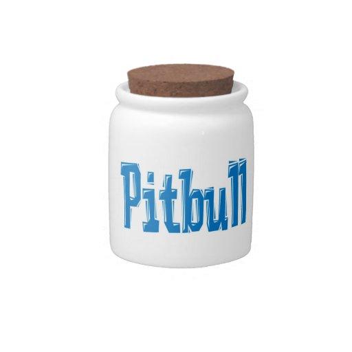 Pitbull word treat jar candy jar