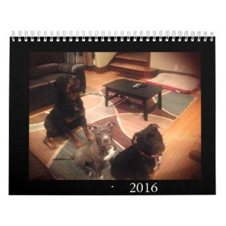 Pitbull y amor de Rottweiler Calendarios De Pared