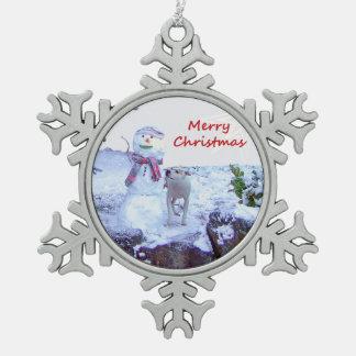 Pitbull y navidad del muñeco de nieve adorno de peltre en forma de copo de nieve