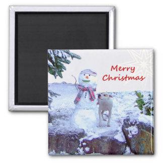 Pitbull y navidad del muñeco de nieve imanes de nevera