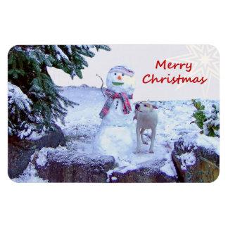 Pitbull y navidad del muñeco de nieve iman rectangular