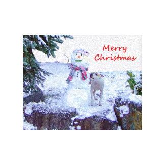 Pitbull y navidad del muñeco de nieve lona envuelta para galerías