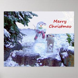 Pitbull y navidad del muñeco de nieve posters
