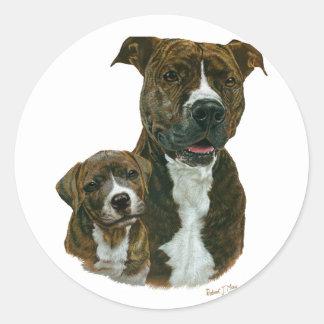 Pitbull y perrito viejos exclusivos del santuario pegatina redonda