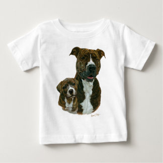 Pitbull y perrito viejos exclusivos del santuario playera de bebé