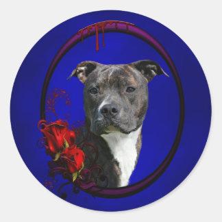 Pitbull y rosas sangrientos pegatina redonda