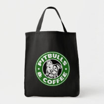 Pitbulls and Coffee funny bag saying