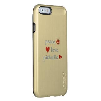 Pitbulls del amor de la paz funda para iPhone 6 plus incipio feather shine