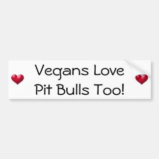 ¡Pitbulls del amor de los veganos también! Pegatin Pegatina Para Auto