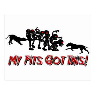 Pitbulls vs. Zombies Funny Logo Design Post Card