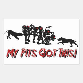 Pitbulls vs. Zombies Funny Logo Design Sticker