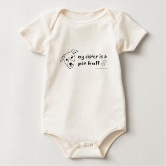 PitBullWhiteSister Baby Bodysuit
