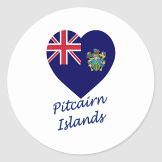 Pitcairn Islands Flag Heart Classic Round Sticker
