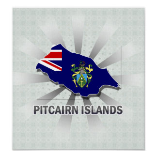 Pitcairn Islands Flag Map 2.0 Posters