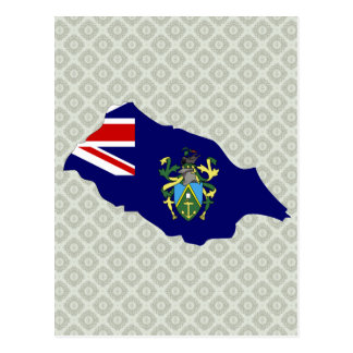 Pitcairn Islands Flag Map full size Postcards