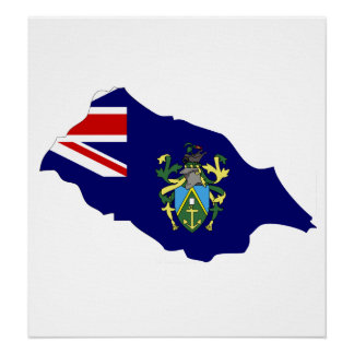 Pitcairn Islands Flag Map full size Print