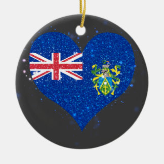 Pitcairn Islands Flag Shining Unique Double-Sided Ceramic Round Christmas Ornament