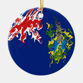 Pitcairn Islands Gnarly Flag Ceramic Ornament