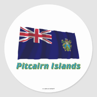 Pitcairn Islands Waving Flag with Name Classic Round Sticker