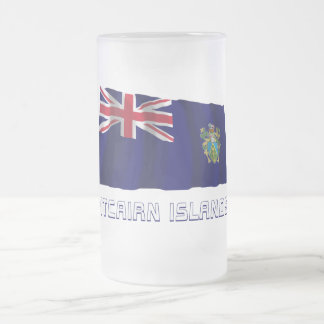 Pitcairn Islands Waving Flag with Name Frosted Glass Beer Mug