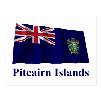 Pitcairn Islands Waving Flag with Name Postcard